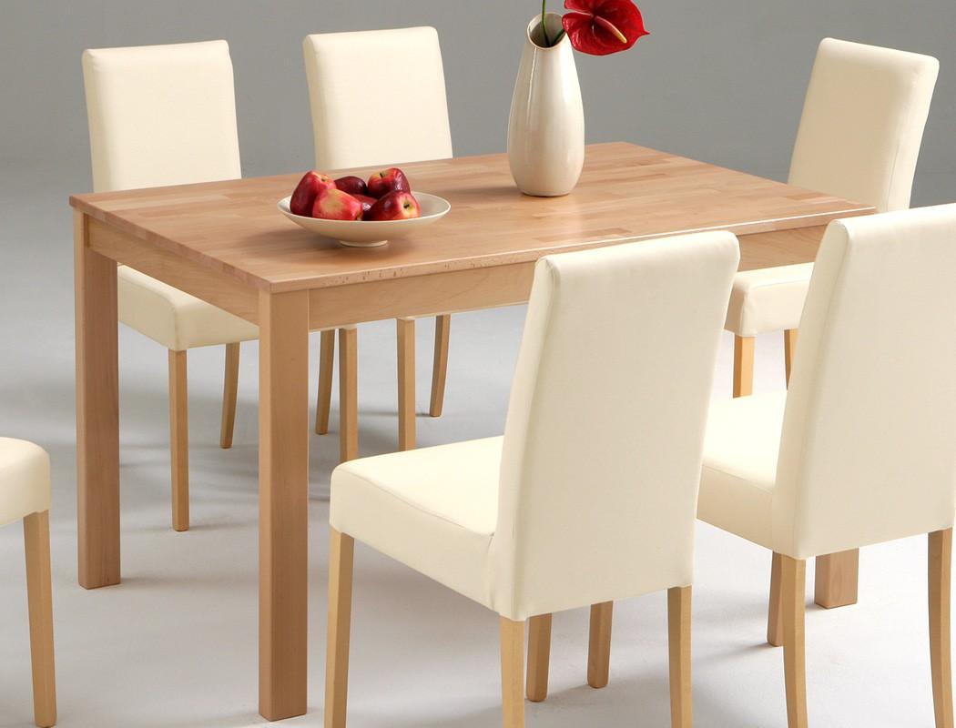 Tischgruppe Buche Esstisch Emilian 125x80cm 6 Stühle Ivett Beige