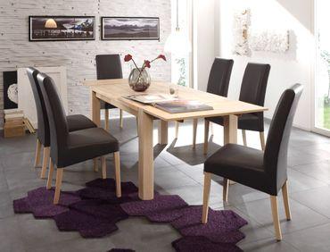 Tischgruppe Eiche Sonoma, Tisch Tim 140(220)x90 + 6 Stühle Robin Grau