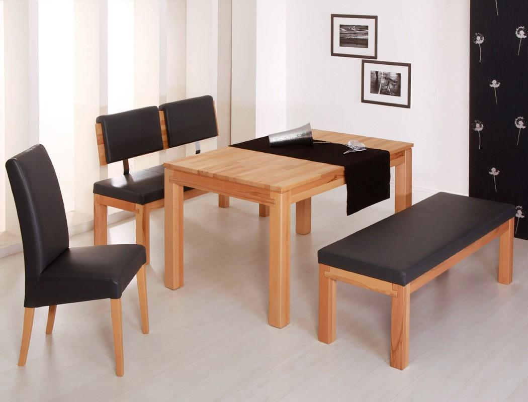 Sitzgruppe Kernbuche, Tisch Grover 130x90, Bank Luca 130cm, Stuhl Grau 001