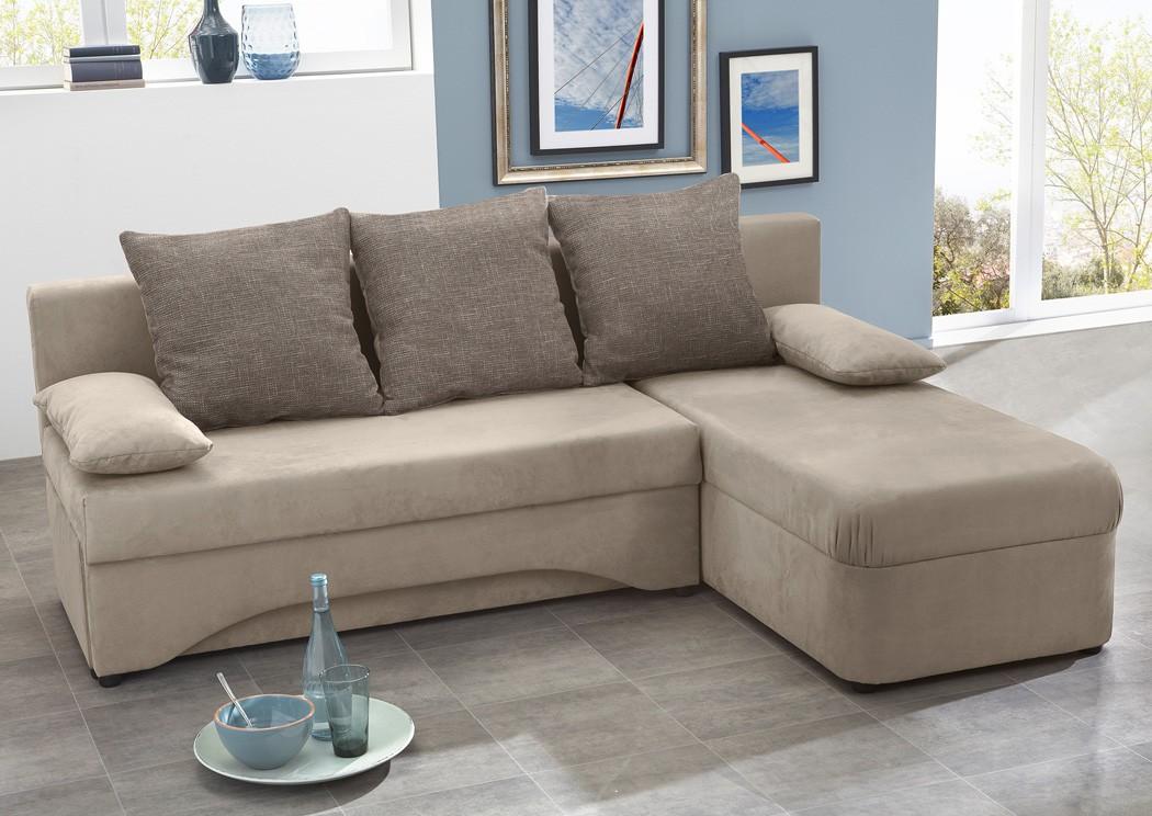 Ecksofa 191x142cm Schlamm Mikrofaser Schlafsofa Couch Sofa