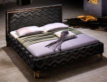 Polsterbett Casadero 180x200cm schwarz Stoffbezug Doppelbett Ehebett