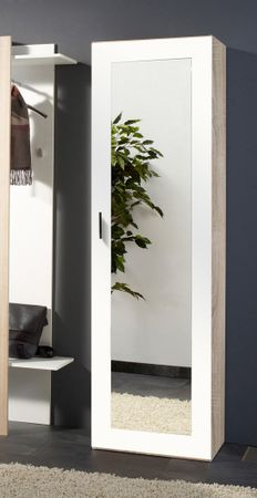 Garderobenschrank Bardo 55x190x35 cm weiß sonoma Eiche Dekor Spiegel