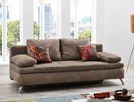 Schlafsofa Jamal 203x95 cm Mikrofaser hellbraun Antiklederoptik Couch 001