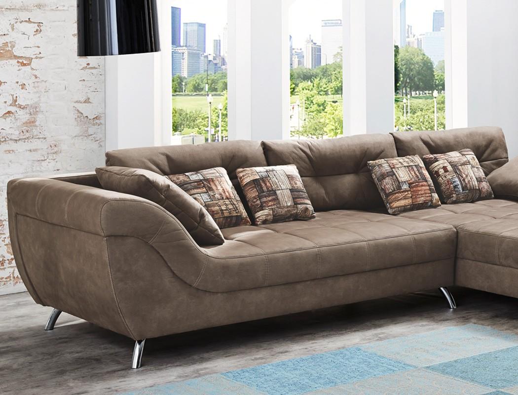 wohnlandschaft sancho 355x218 cm mikrofaser hellbraun. Black Bedroom Furniture Sets. Home Design Ideas