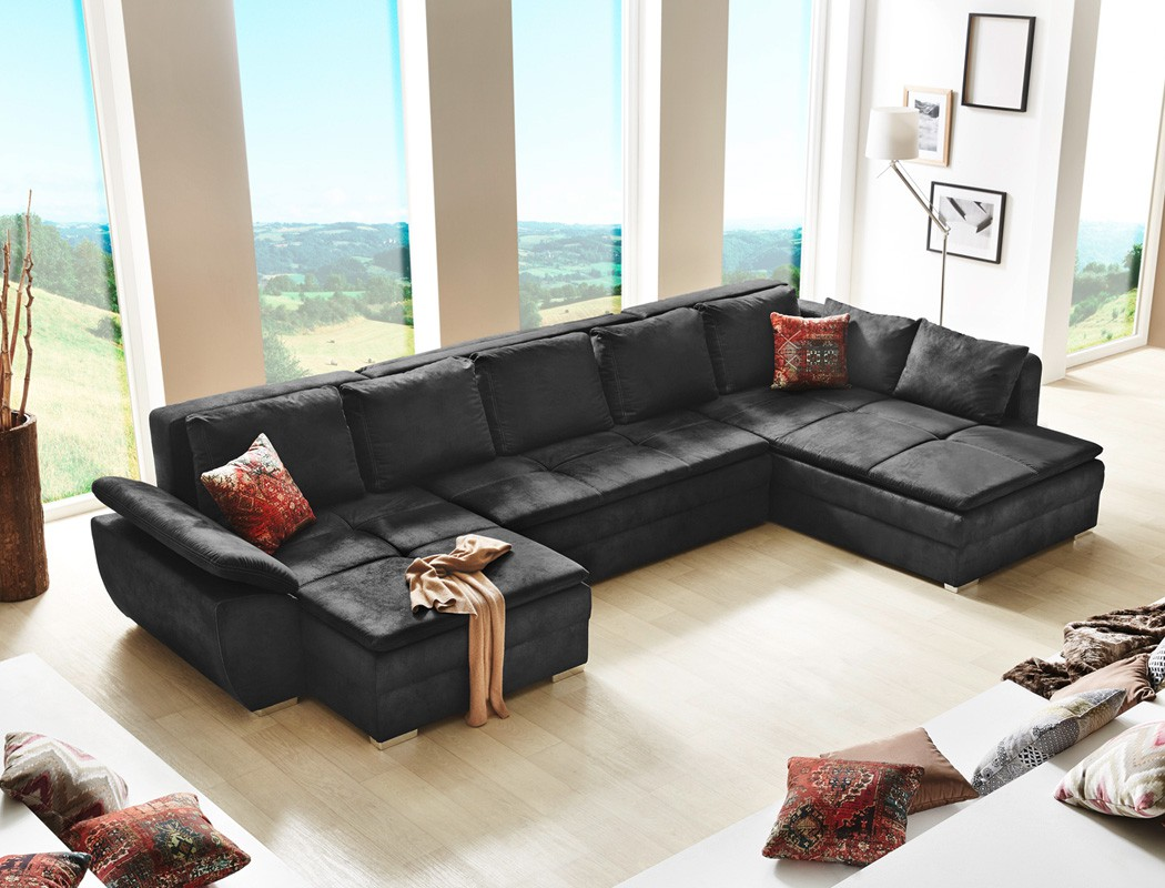 wohnlandschaft sarab schwarz 395x210 cm u form schlafsofa couch sofa wohnbereiche wohnzimmer. Black Bedroom Furniture Sets. Home Design Ideas
