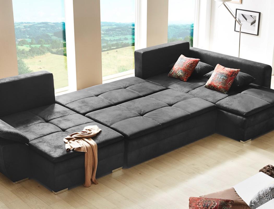 Wohnlandschaft Sarab Schwarz 395x210 Cm U Form Schlafsofa Couch Sofa