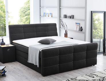 Boxspringbett Gregor 180x200cm Bezug grau Doppelbett Bett Bettkasten