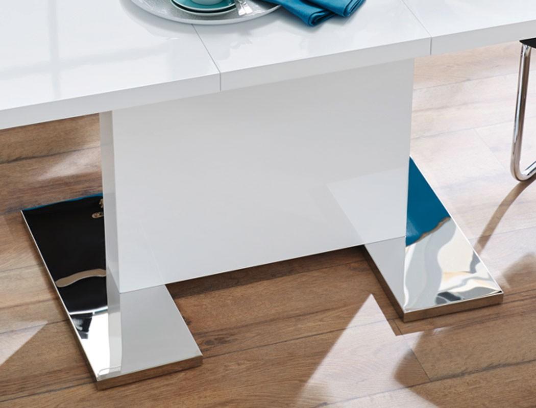 Esstisch Panos 120 160 X80 Cm Säulentisch Hochglanz Weiß Ausziehbar