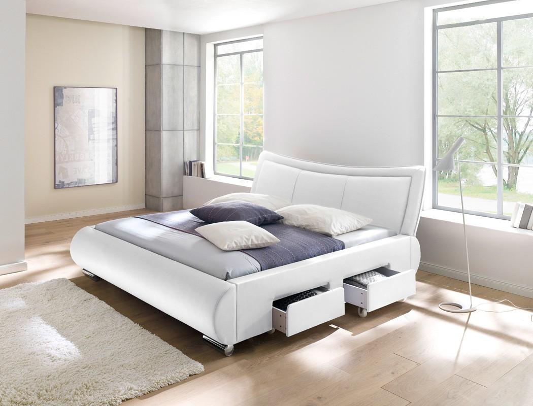 polsterbett lando bett 180x200 cm wei 4 schubkasten doppelbett wohnbereiche schlafzimmer betten