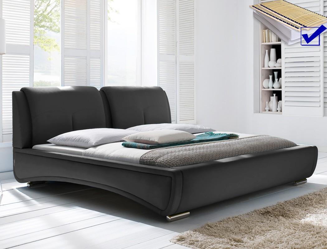 polsterbett syrus bett 180x200 schwarz mit lattenrost. Black Bedroom Furniture Sets. Home Design Ideas