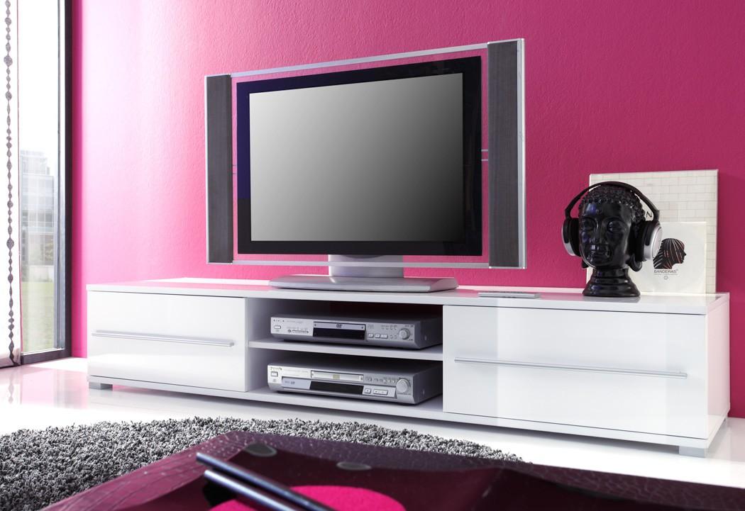 Lowboard Spiros 175x32x47 cm weiß Hochglanz TV-Board Unterschrank