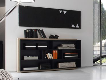 Regal Scott 139x79x38cm schwarz Design Eiche Nb Regalschrank Sideboard