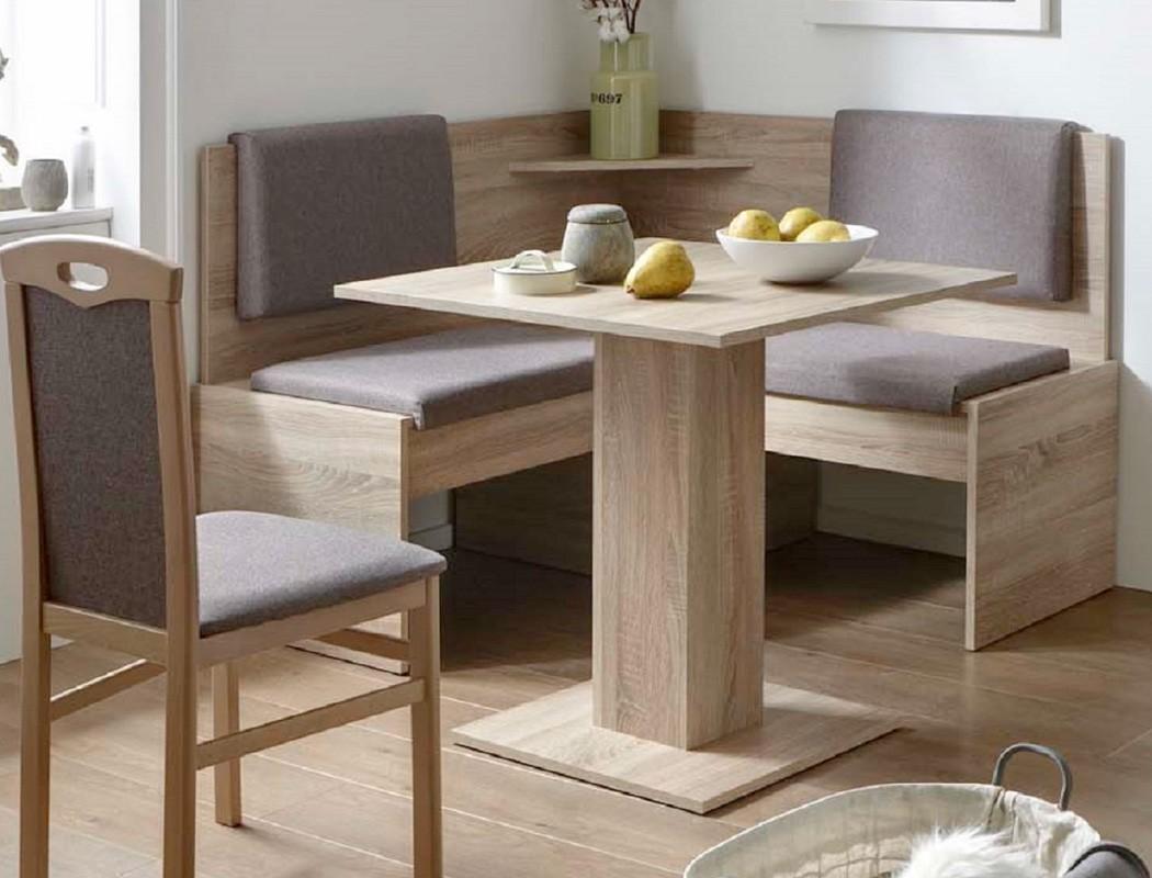 Eckbankgruppe Jada Buche Sonoma Grau Braun 2x Stuhl Tisch Eckbank Essgruppe  Kompakt Bank Säulentisch Esszimmer