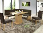 Eckbankgruppe Charly Buche braun 160x140 cm 2x Stuhl Säulentisch Bank 001