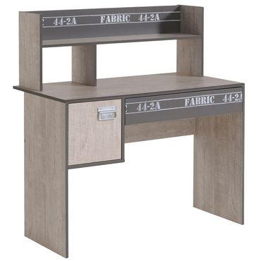 Parisot Schreibtisch Fabric 8 Esche-Grau 108x114x56cm Regalaufsatz