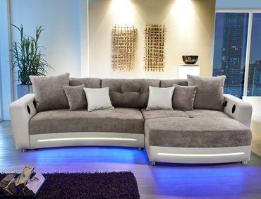 Multimedia Sofa Larenio HiFi Wohnlandschaft 322x200cm grau beige Couch