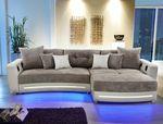 Multimedia Sofa Larenio HiFi Wohnlandschaft 322x200cm grau beige Couch 001