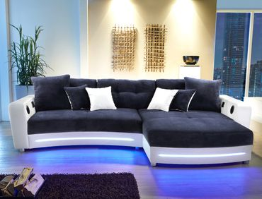 Multimedia Sofa Larenio HiFi Wohnlandschaft 322x200 cm dunkelblau weiß