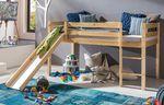 Hochbett mit Rutsche Kimball 90x200 Kiefer lackiert Massivholz Bett 001
