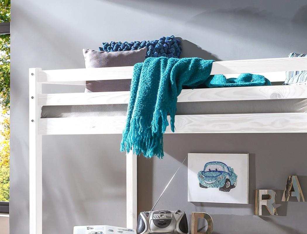 Hochbett mit Schreibtisch Dean 90x200 Kiefer weiß Massivholz Bett ...