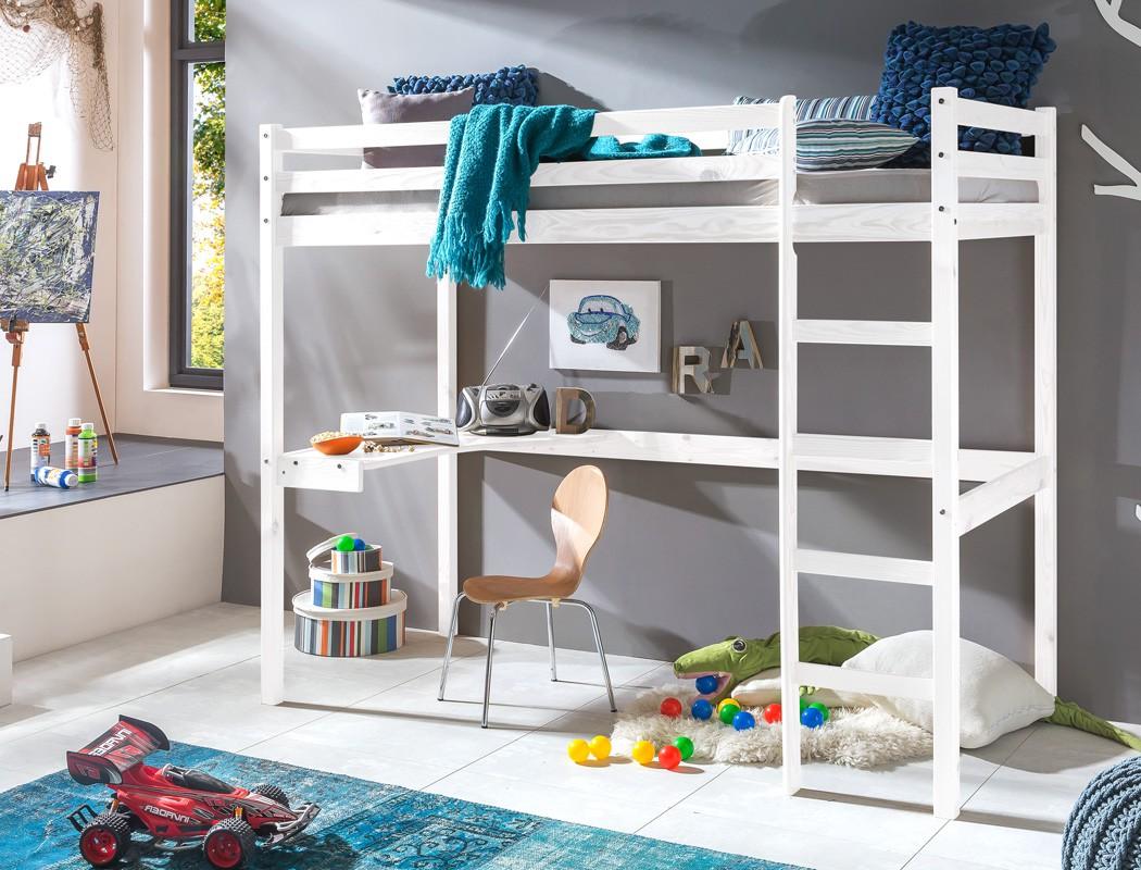 hochbett mit schreibtisch dean 90x200 kiefer wei. Black Bedroom Furniture Sets. Home Design Ideas