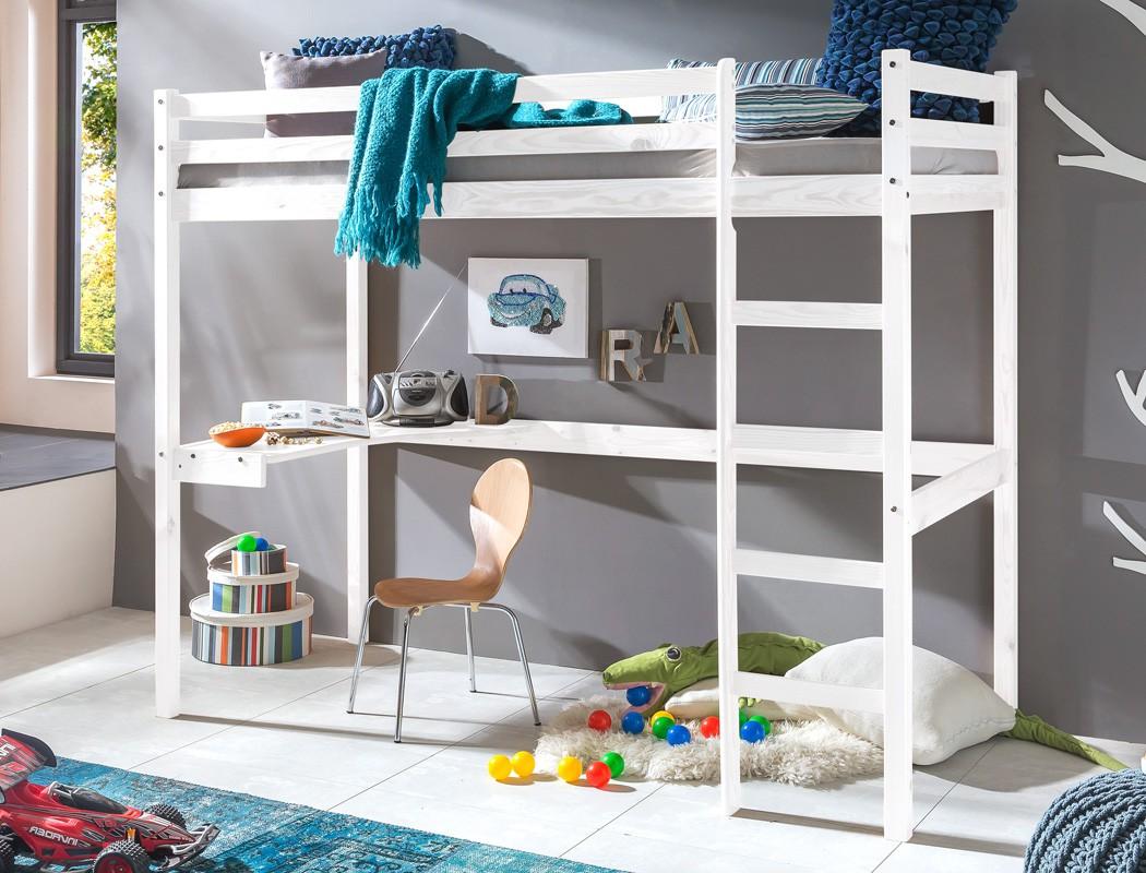 Hochbett Mit Schreibtisch Bett 90x200 Kiefer Weiß Massivholz
