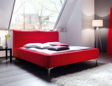 Polsterbett Cloude Bett 160x200 cm Stoffbezug rot Doppelbett Ehebett