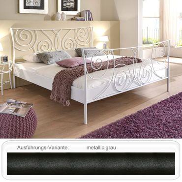 Metallbett Paloma metallic grau Größe nach Wahl Bettgestell Doppelbett
