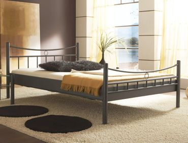 Metallbett Saeko dunkelgrau Größe nach Wahl Bettgestell Doppelbett