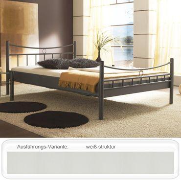 Metallbett Saeko weiß struktur Größe nach Wahl Bettgestell Doppelbett