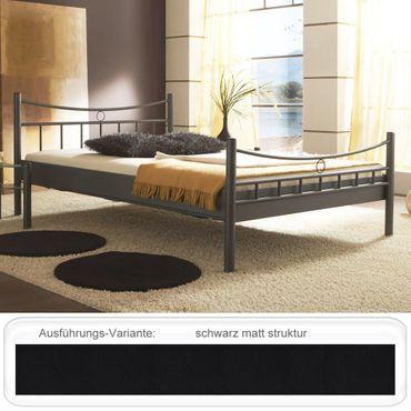 Metallbett Saeko schwarz matt struktur Größe nach Wahl Bettgestell