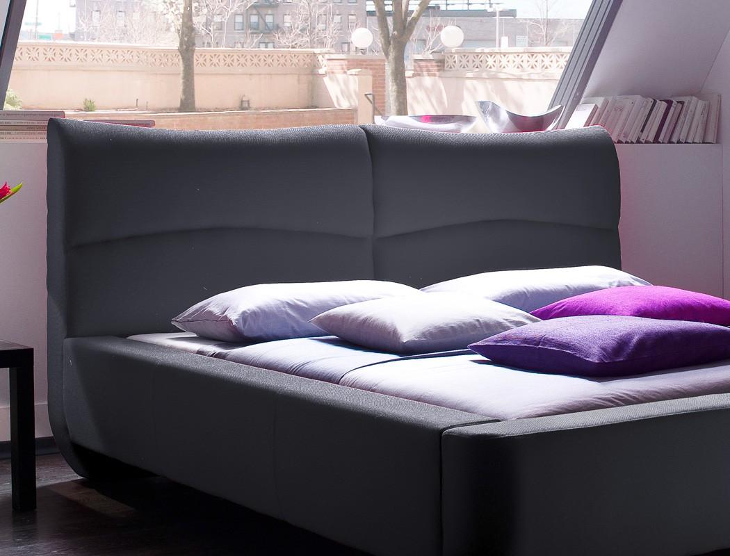 Polsterbett Cloude Bett 160x200 cm Stoffbezug anthrazit Doppelbett ...