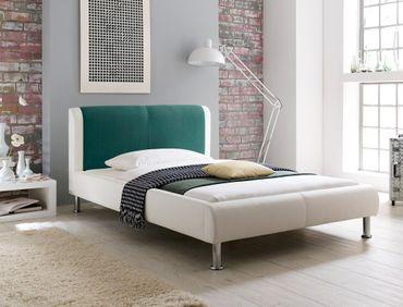 Polsterbett Falo 120x200 cremeweiß petrol Designerbett Singlebett Bett