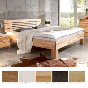 Massivholzbett Visp Buche Farbe und Größe nach Wahl Futonbett Ehebett