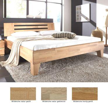 Massivholzbett Minusio Eiche Farbe und Größe nach Wahl Futonbett Bett