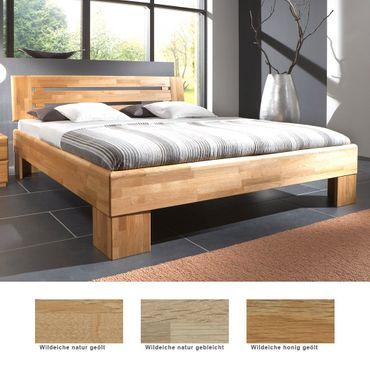 Massivholzbett Losone Eiche Farbe und Größe nach Wahl Futonbett Bett