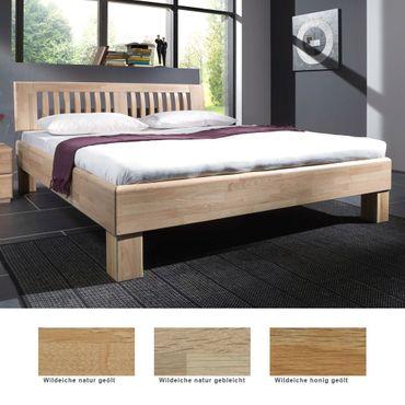 Massivholzbett Ascona Eiche Farbe und Größe nach Wahl Futonbett Bett