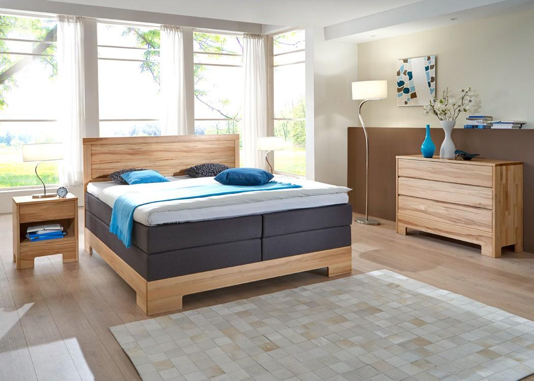 Schlafzimmer Lille Premium Kernbuche massiv Boxspringbett Kommode ...