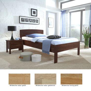 Seniorenbett Nyon Comfort + Nachttisch Eiche Varianten Holzbett Nako