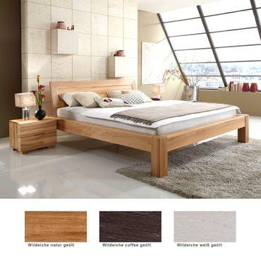 Massivholzbett Thun Premium + Nachttisch Eiche Farbe + Größe nach Wahl