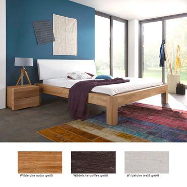 Massivholzbett Lyss Premium + Nachttisch Eiche Farbe + Größe nach Wahl
