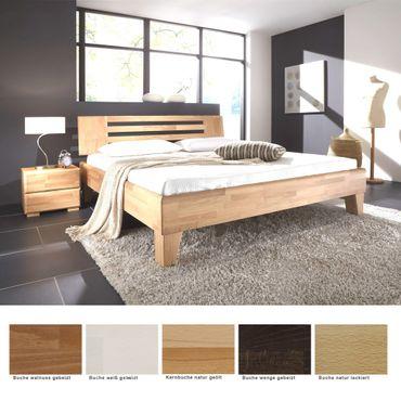Massivholzbett Minusio + Nachttisch Buche Farbe und Größe nach Wahl
