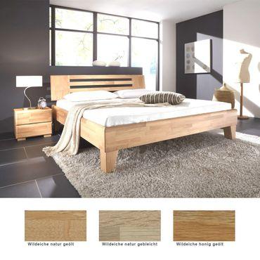 Massivholzbett Minusio + Nachttisch Eiche Farbe und Größe nach Wahl