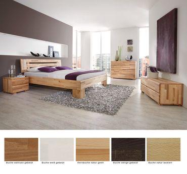 Schlafzimmer Losone Buche Massivholzbett + Kommode + Lowboard + Nako