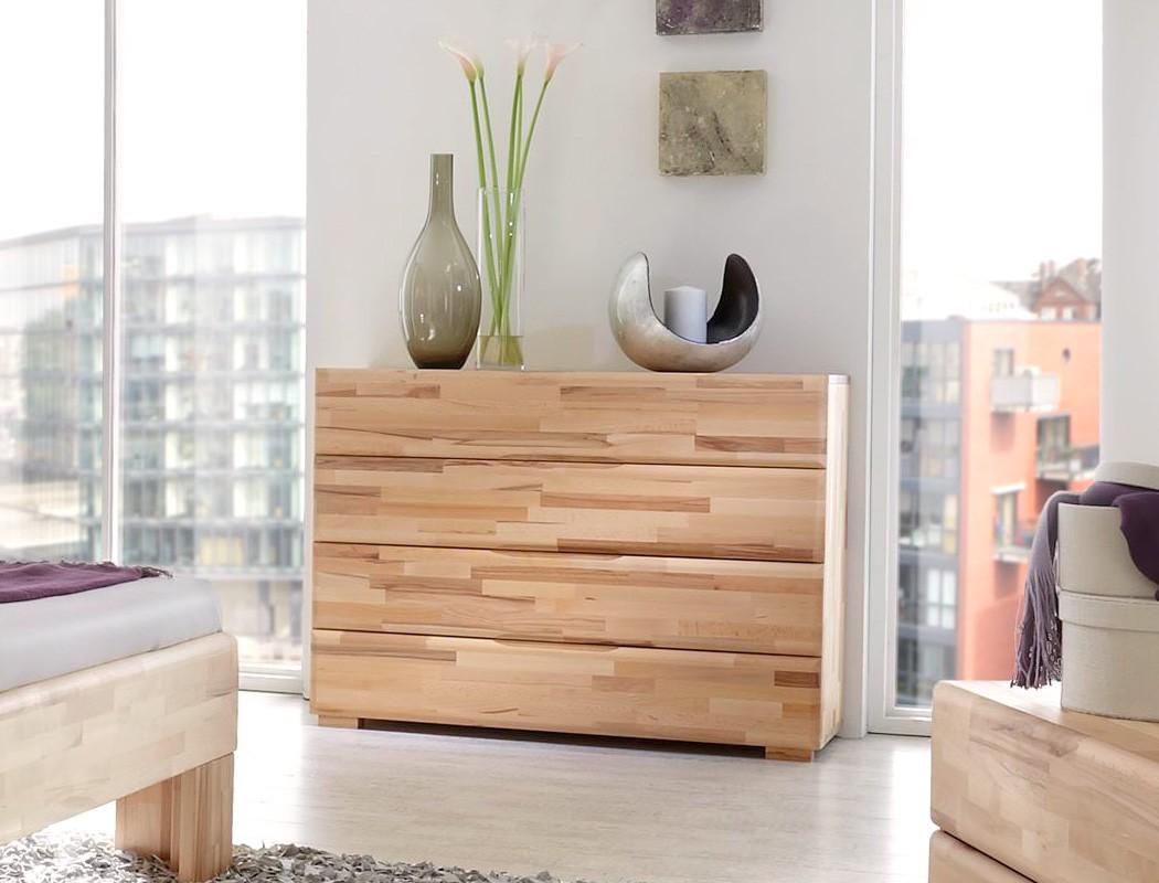 Schlafzimmer Losone Eiche Massivholzbett + Kommode + Lowboard + Nako ...