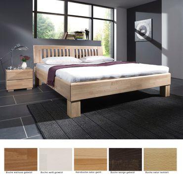 Massivholzbett Ascona + Nachttisch Buche Farbe und Größe nach Wahl