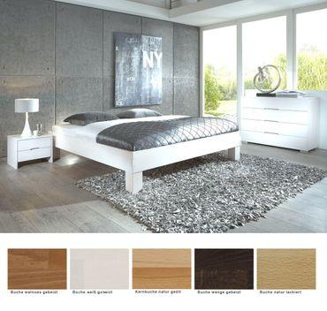 Schlafzimmer Monthey Buche Massivholzbett + Kommode + Nako Futonbett