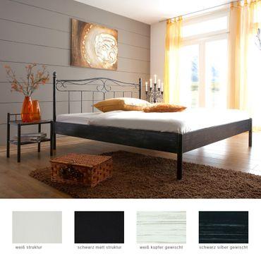 Metallbett Paros + Nachttisch Farbe und Größe nach Wahl Futonbett