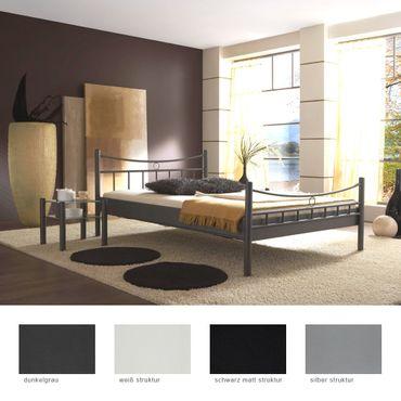 Metallbett Saeko + Nachttisch Farbe und Größe nach Wahl Doppelbett