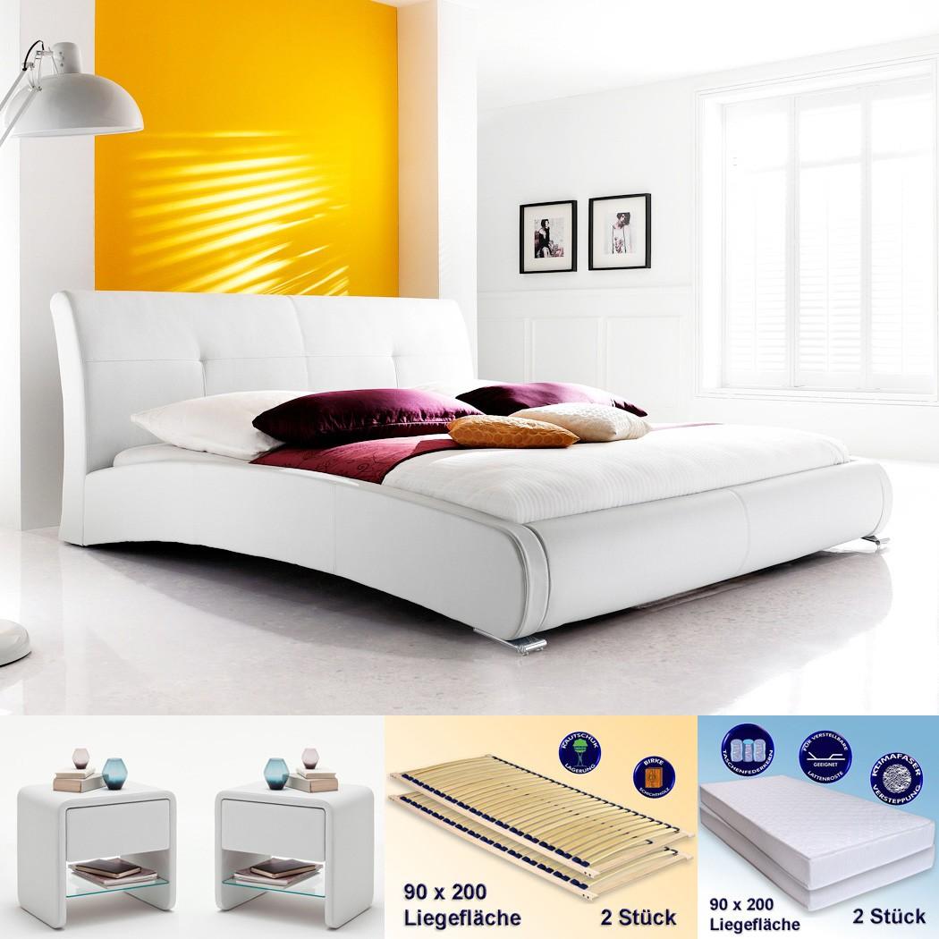 polsterbett amadeo 180x200 wei 2x nako flash rost matratze wohnbereiche schlafzimmer. Black Bedroom Furniture Sets. Home Design Ideas